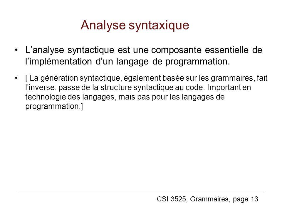 Analyse syntaxique L'analyse syntactique est une composante essentielle de l'implémentation d'un langage de programmation.