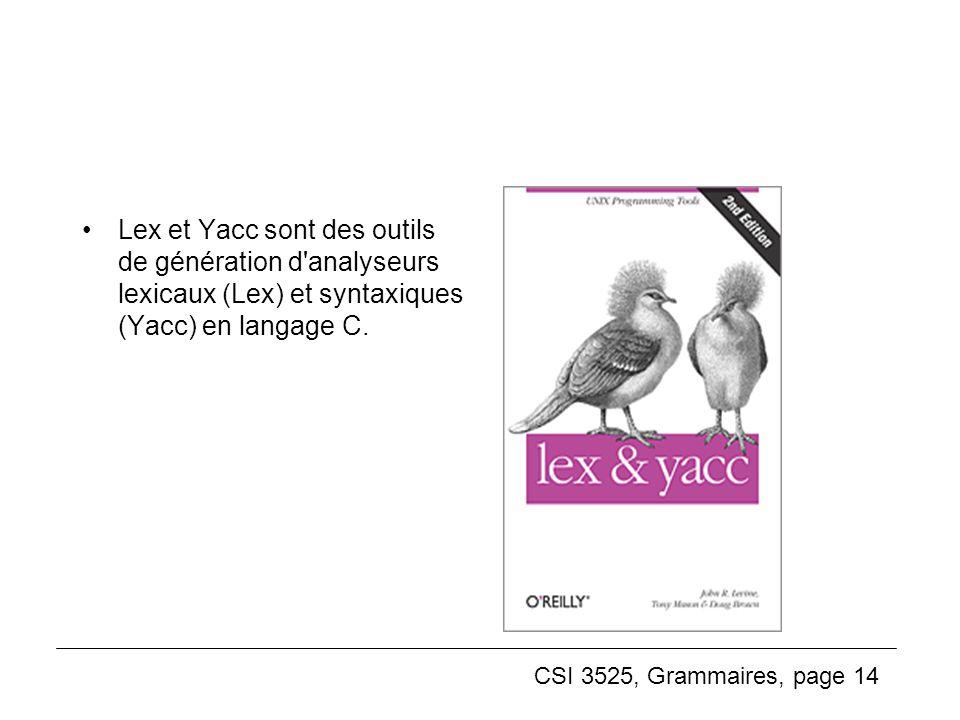 Lex et Yacc sont des outils de génération d analyseurs lexicaux (Lex) et syntaxiques (Yacc) en langage C.