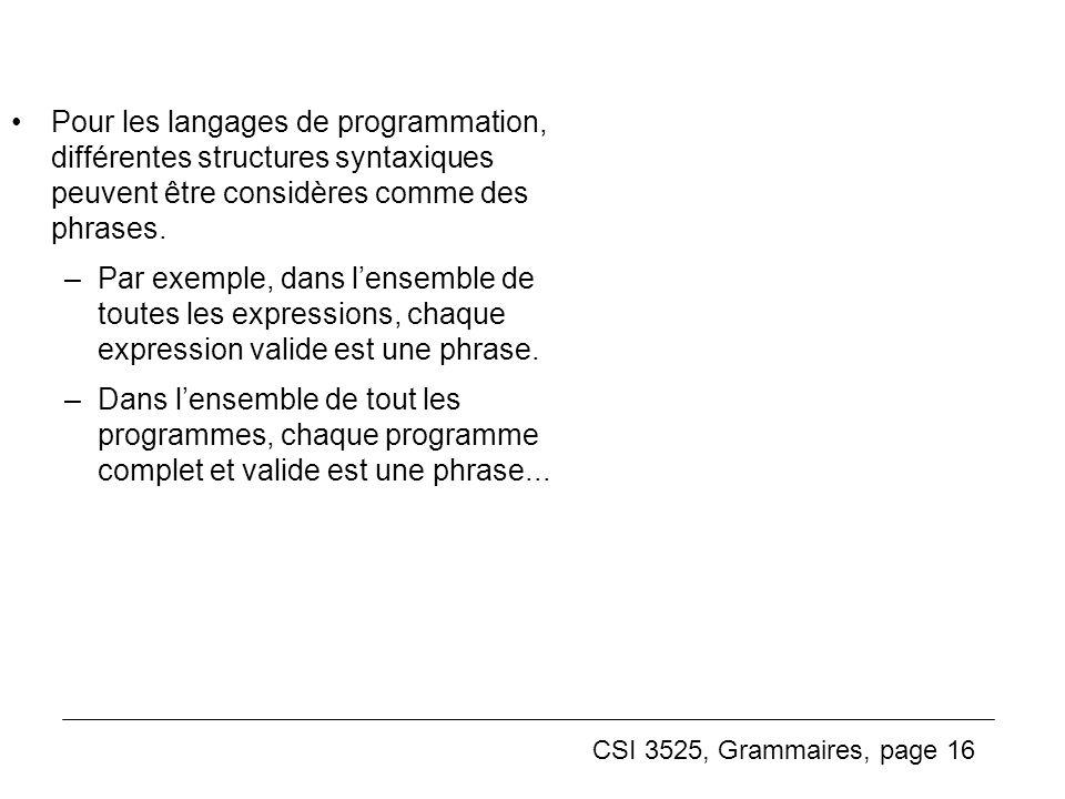 Pour les langages de programmation, différentes structures syntaxiques peuvent être considères comme des phrases.