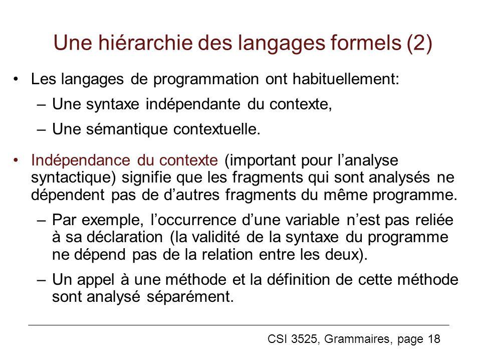 Une hiérarchie des langages formels (2)
