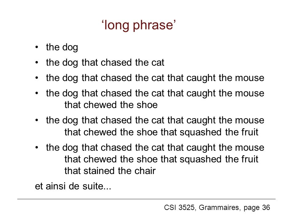 'long phrase' the dog the dog that chased the cat
