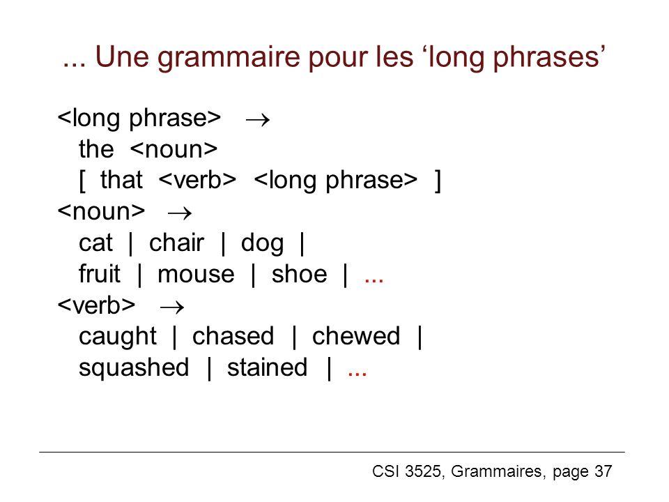 ... Une grammaire pour les 'long phrases'