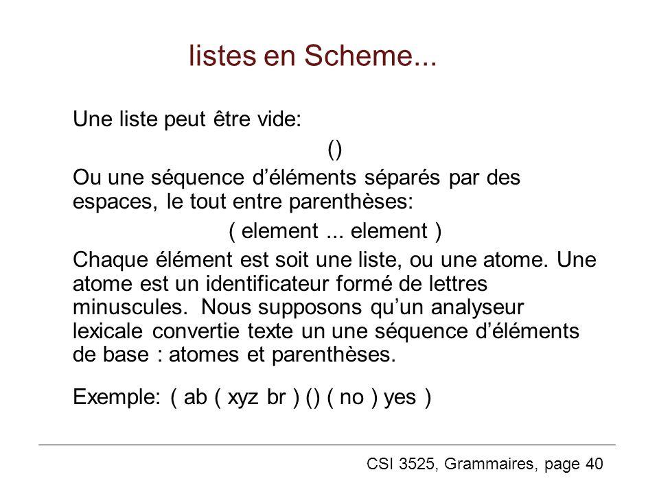 listes en Scheme... Une liste peut être vide: ()