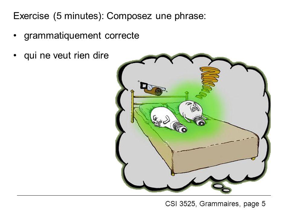 Exercise (5 minutes): Composez une phrase:
