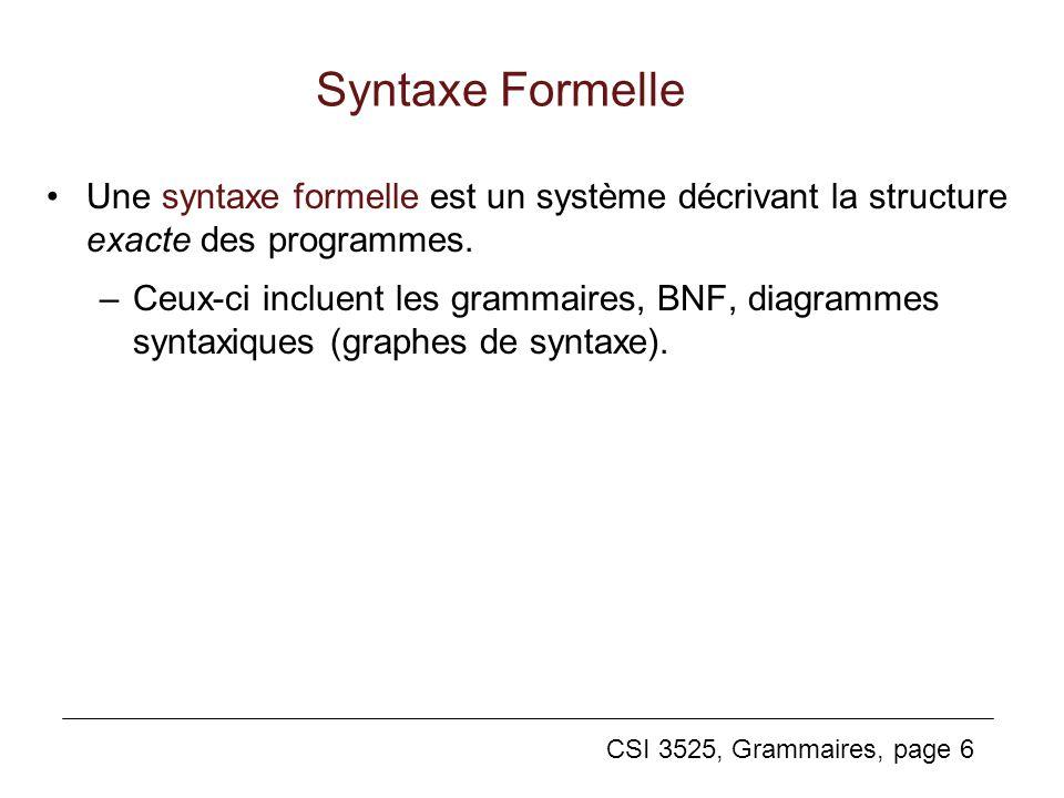 Syntaxe Formelle Une syntaxe formelle est un système décrivant la structure exacte des programmes.