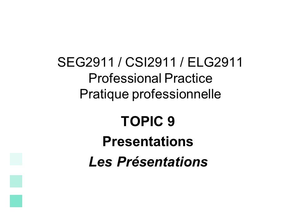 TOPIC 9 Presentations Les Présentations