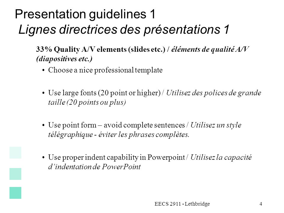 Presentation guidelines 1 Lignes directrices des présentations 1