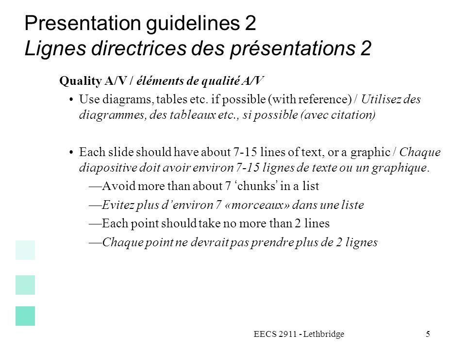 Presentation guidelines 2 Lignes directrices des présentations 2