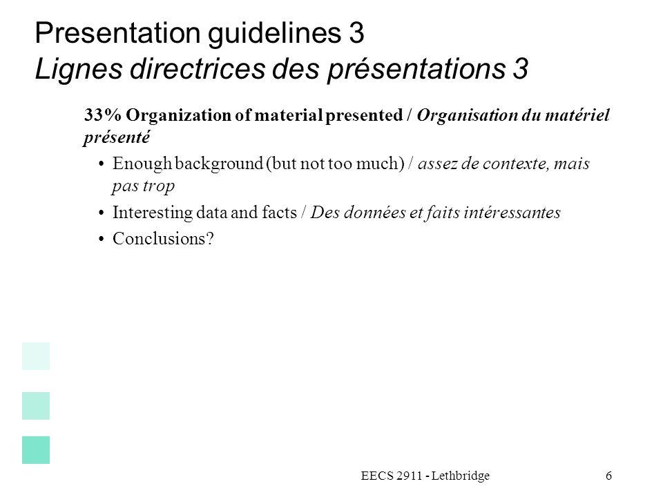 Presentation guidelines 3 Lignes directrices des présentations 3