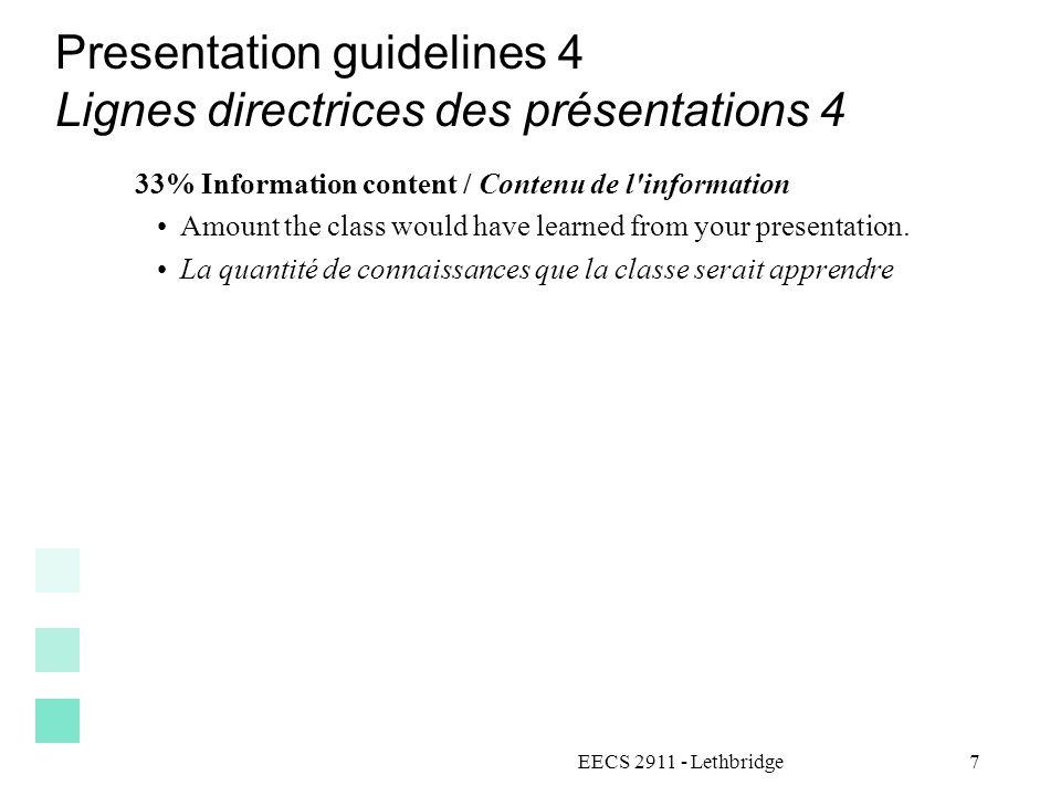 Presentation guidelines 4 Lignes directrices des présentations 4