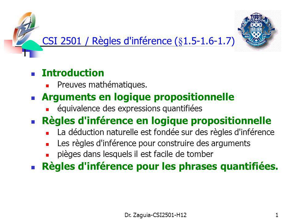 CSI 2501 / Règles d inférence (§1.5-1.6-1.7)