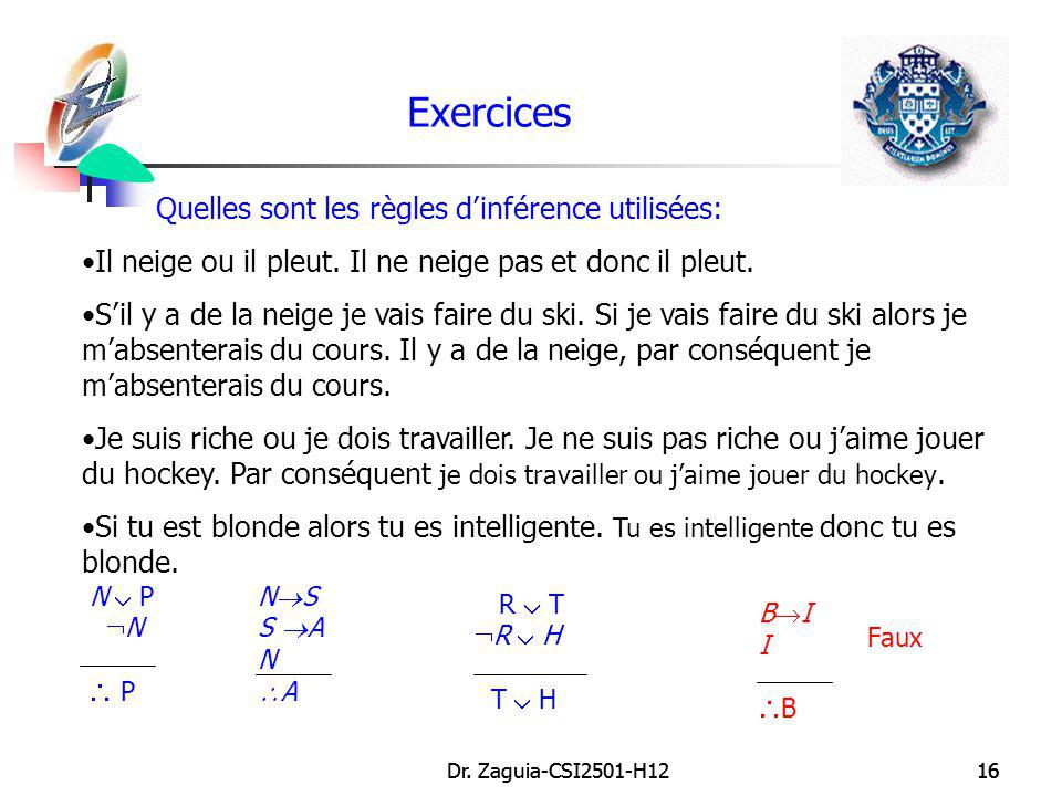 Exercices Quelles sont les règles d'inférence utilisées: