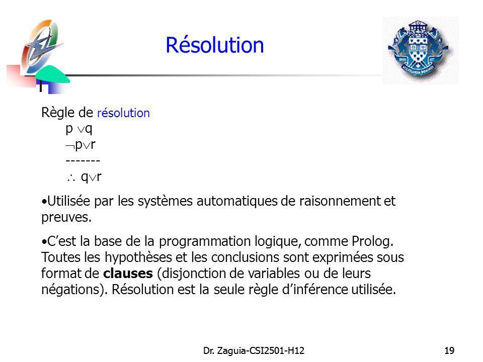 Résolution Règle de résolution p q pr -------  qr