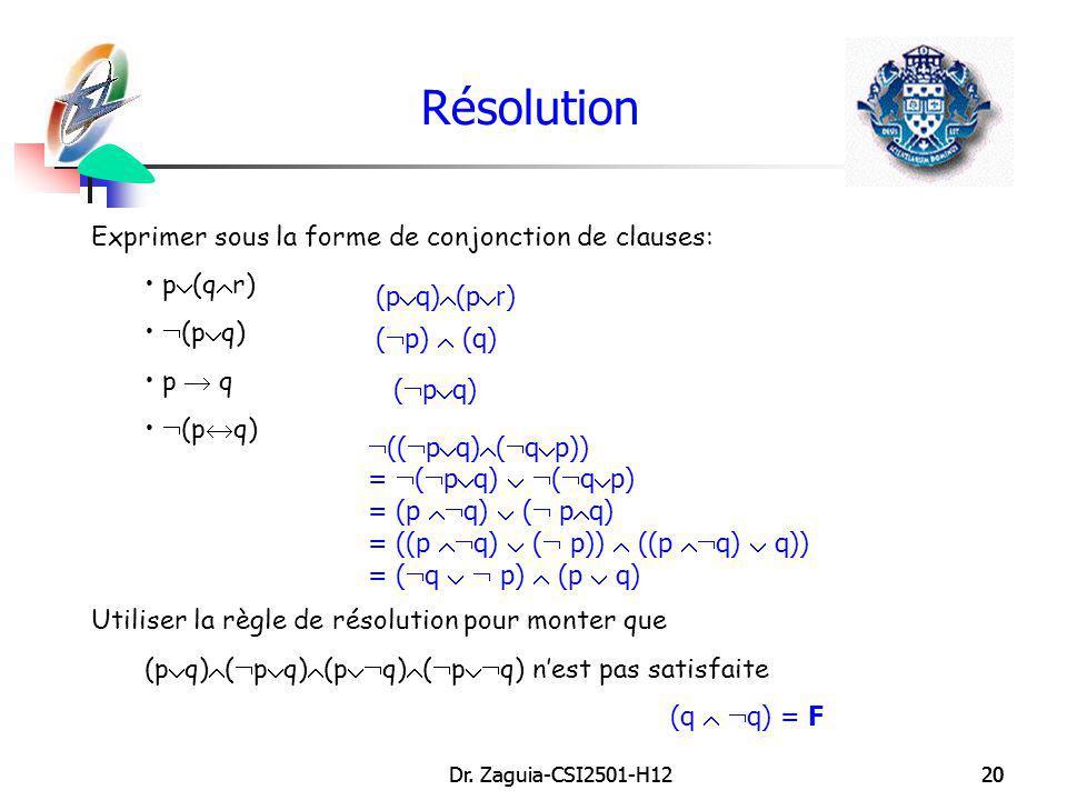 Résolution Exprimer sous la forme de conjonction de clauses: p(qr)