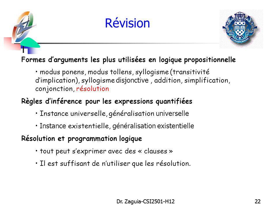 Révision Formes d'arguments les plus utilisées en logique propositionnelle.
