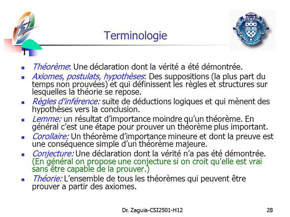 Terminologie Théorème: Une déclaration dont la vérité a été démontrée.