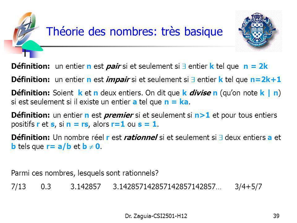 Théorie des nombres: très basique
