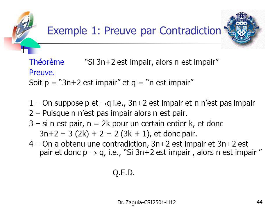 Exemple 1: Preuve par Contradiction