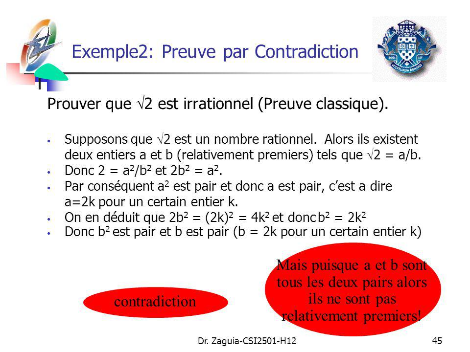 Exemple2: Preuve par Contradiction