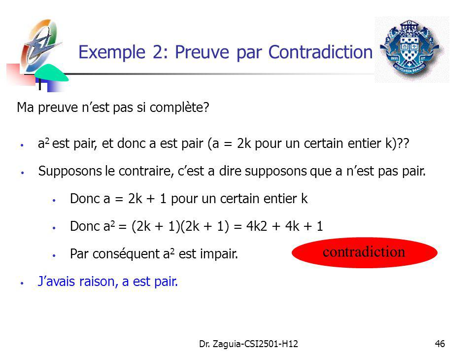 Exemple 2: Preuve par Contradiction