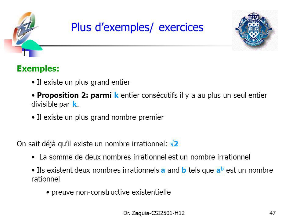 Plus d'exemples/ exercices