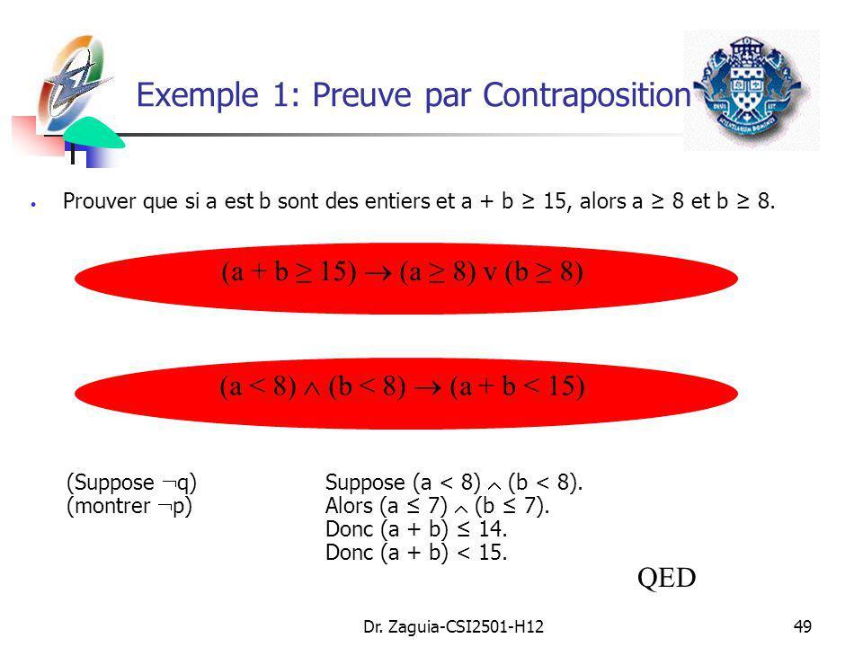 Exemple 1: Preuve par Contraposition
