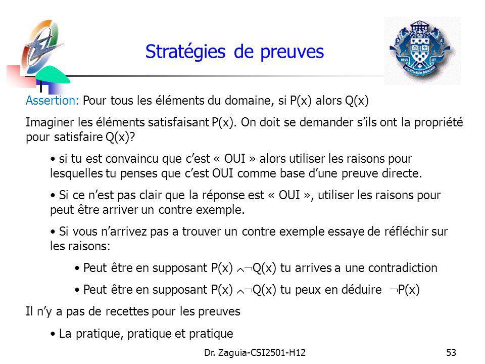 Stratégies de preuves Assertion: Pour tous les éléments du domaine, si P(x) alors Q(x)