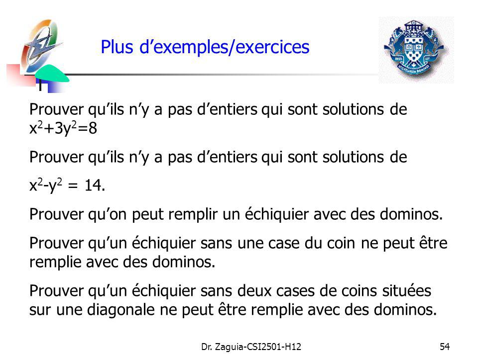 Plus d'exemples/exercices
