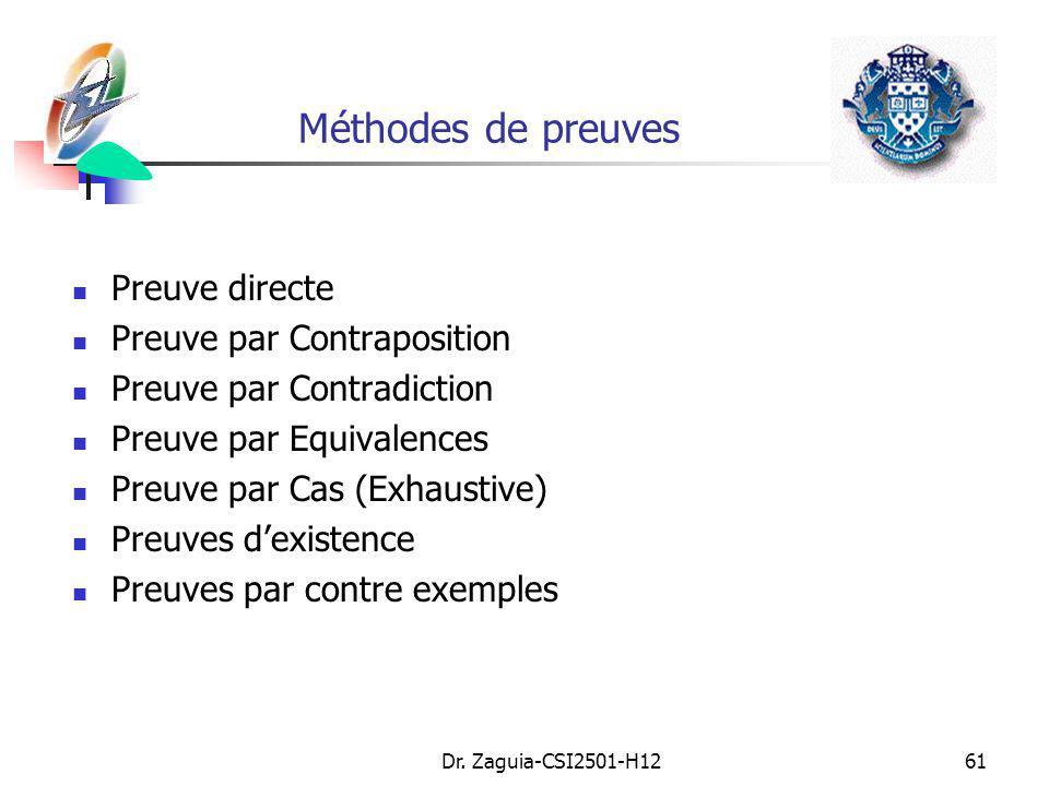 Méthodes de preuves Preuve directe Preuve par Contraposition