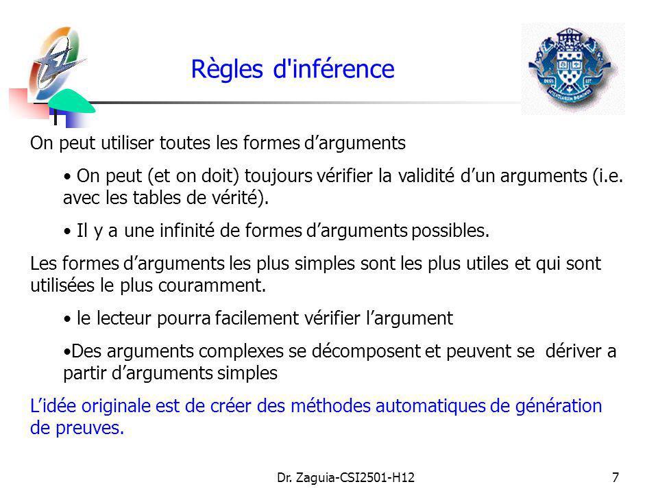 Règles d inférence On peut utiliser toutes les formes d'arguments