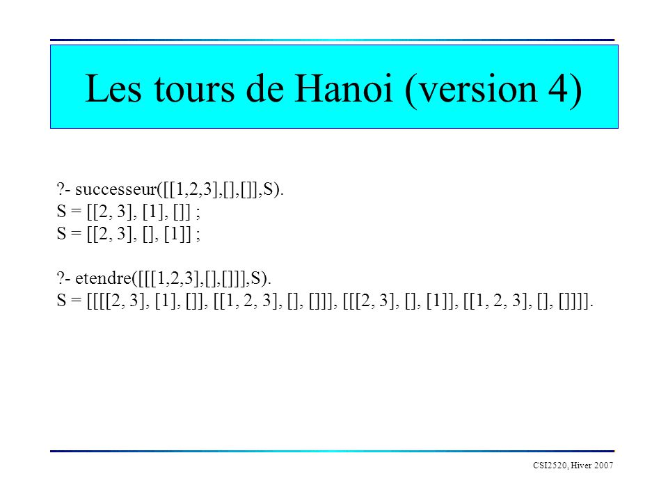 Les tours de Hanoi (version 4)