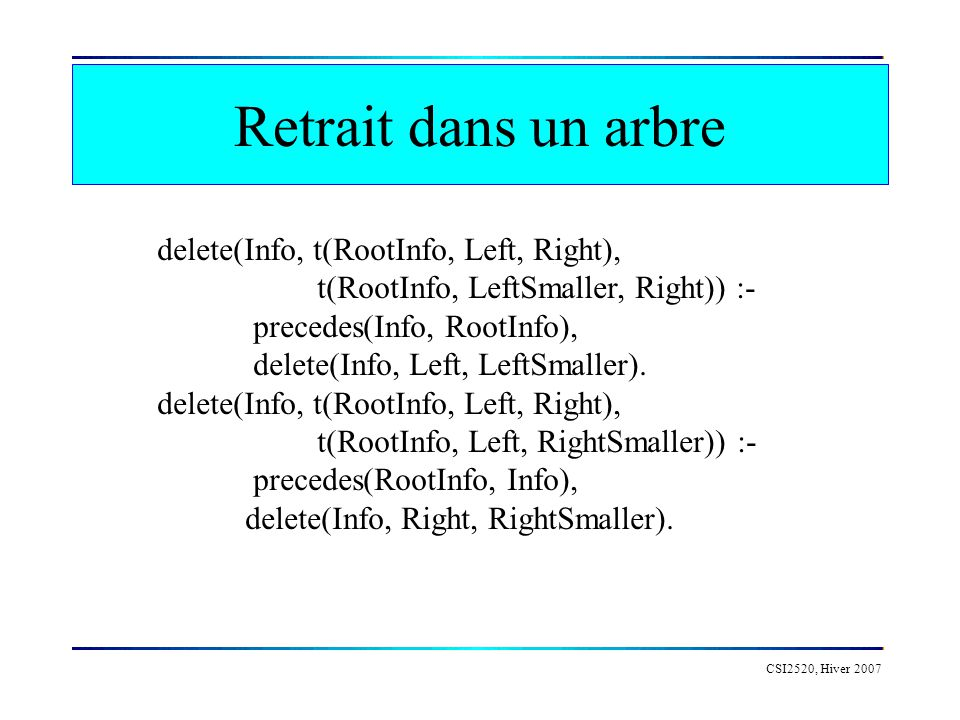 Retrait dans un arbre delete(Info, t(RootInfo, Left, Right),