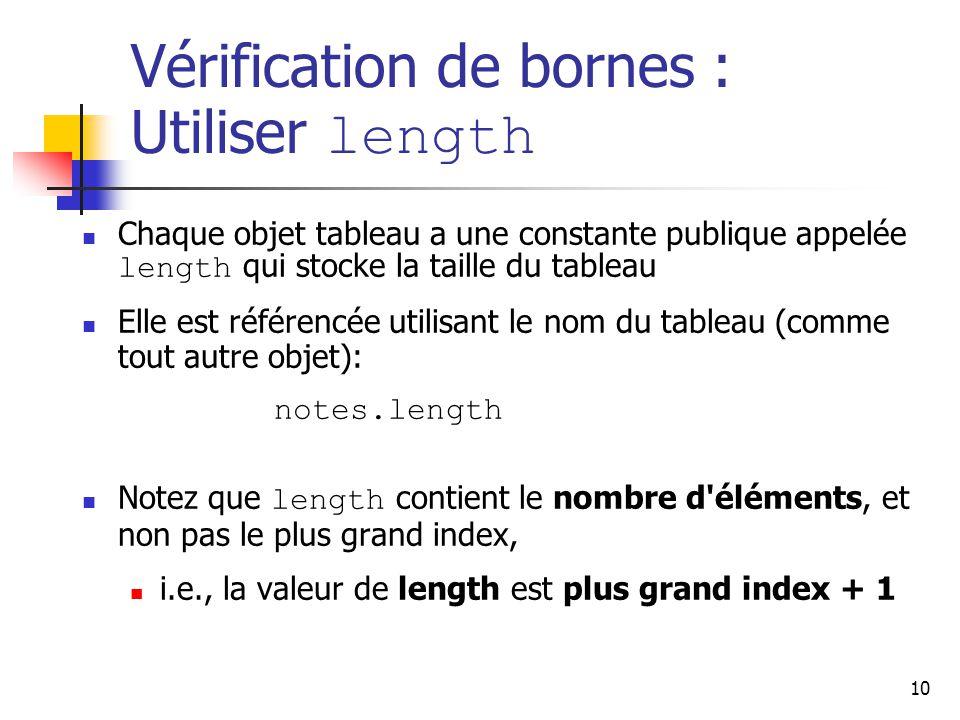 Vérification de bornes : Utiliser length