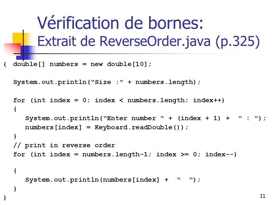 Vérification de bornes: Extrait de ReverseOrder.java (p.325)