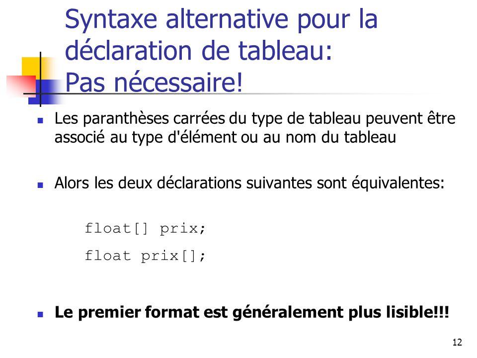 Syntaxe alternative pour la déclaration de tableau: Pas nécessaire!
