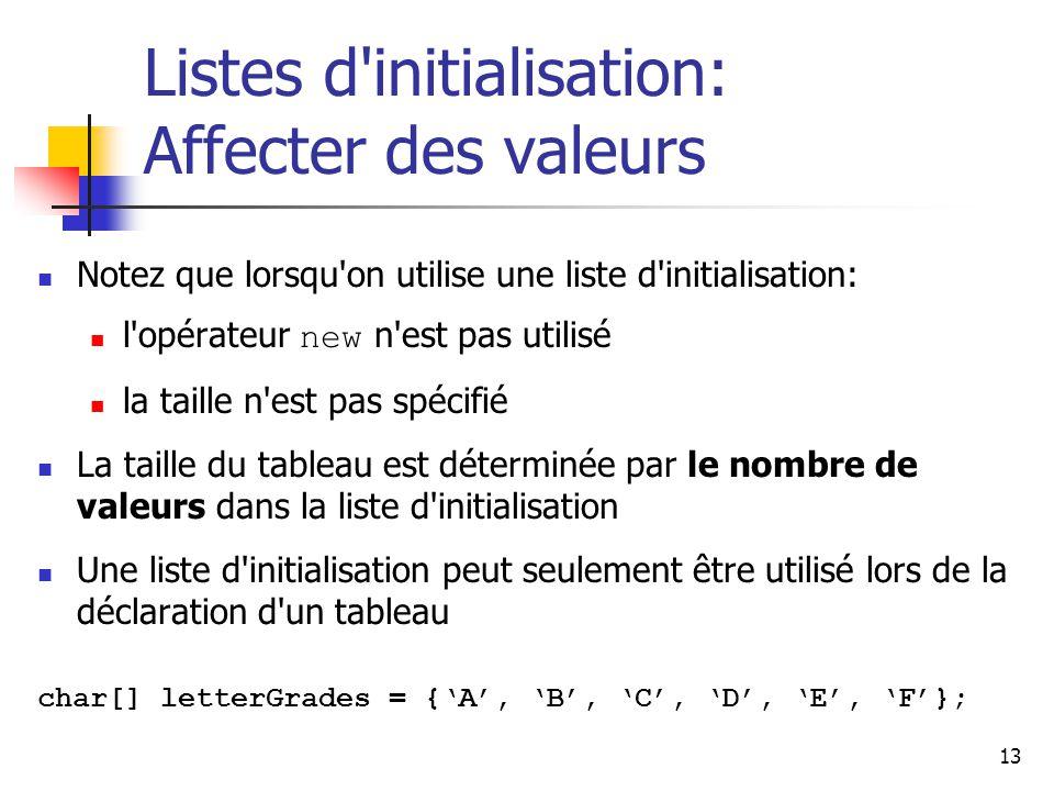 Listes d initialisation: Affecter des valeurs