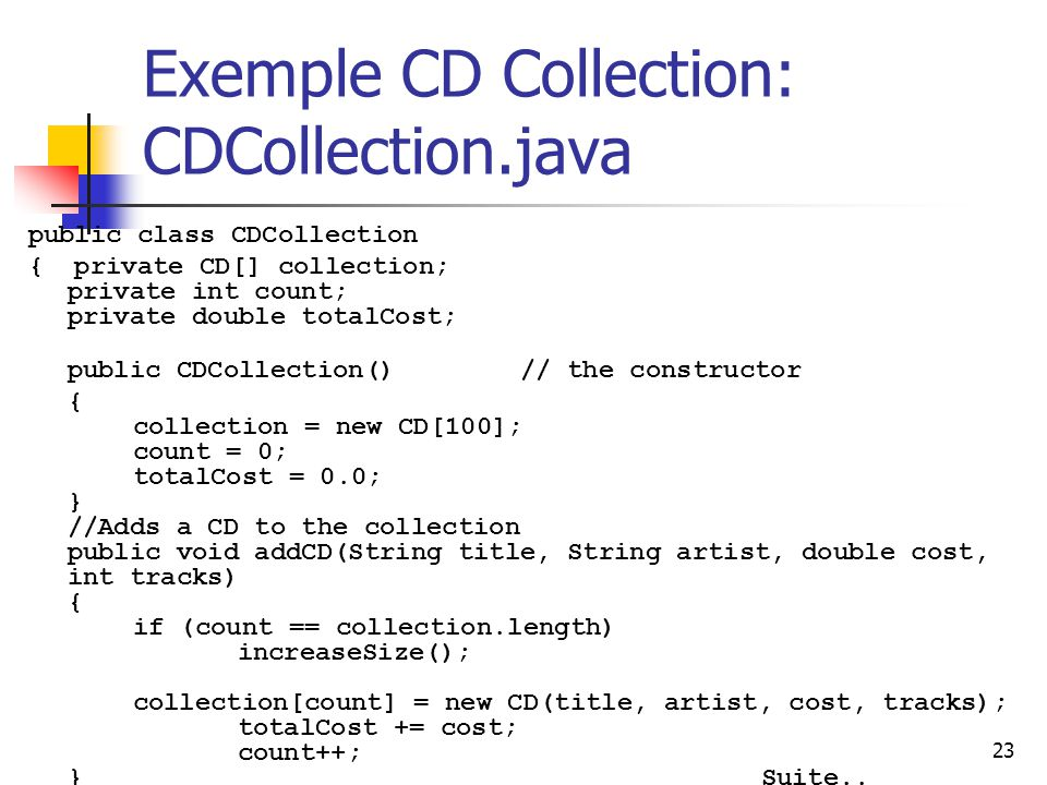 Exemple CD Collection: CDCollection.java