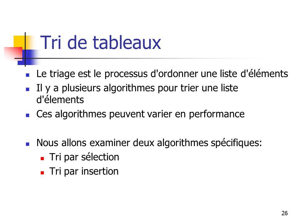 Tri de tableaux Le triage est le processus d ordonner une liste d éléments. Il y a plusieurs algorithmes pour trier une liste d élements.