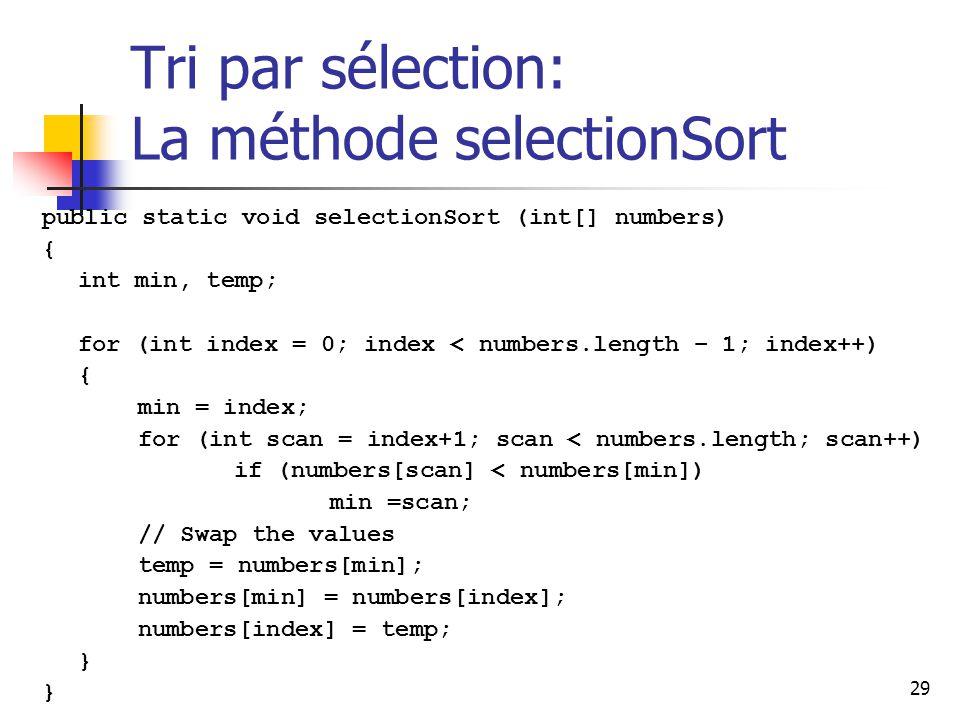 Tri par sélection: La méthode selectionSort
