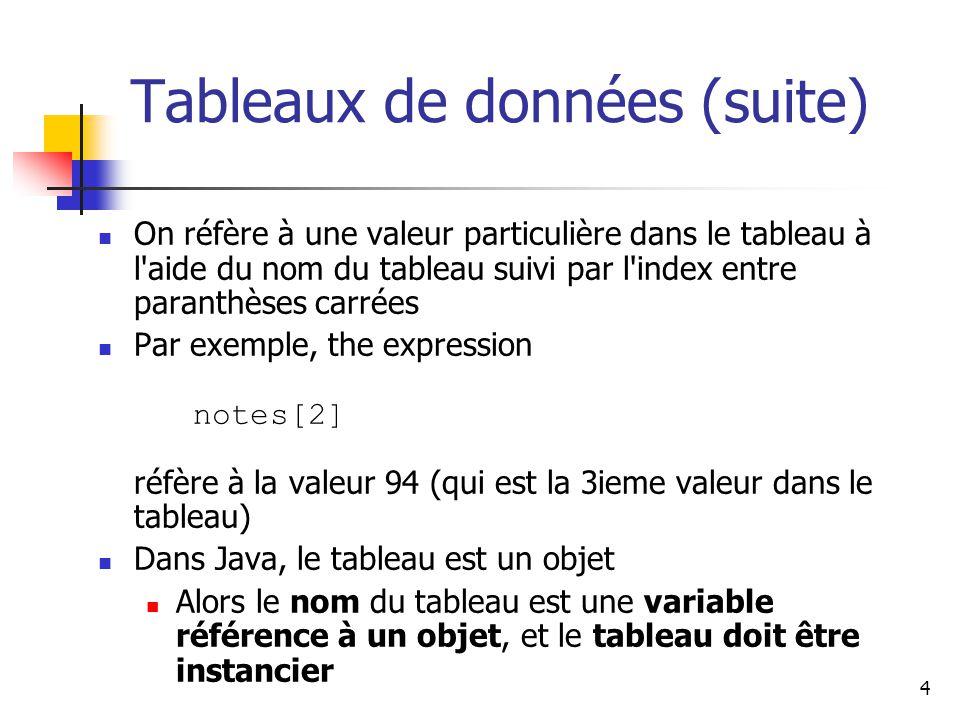 Tableaux de données (suite)