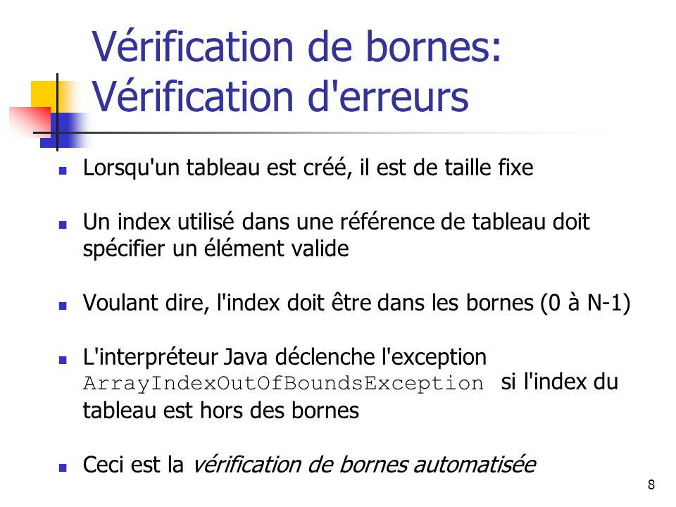 Vérification de bornes: Vérification d erreurs