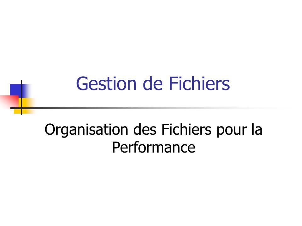 Organisation des Fichiers pour la Performance