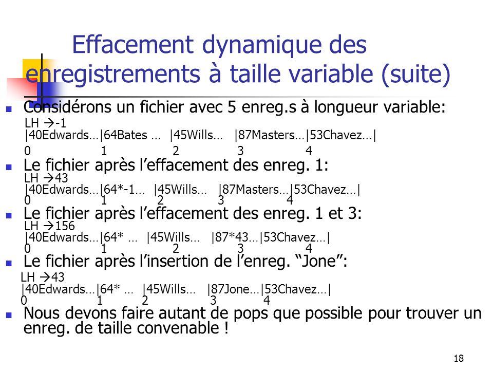 Effacement dynamique des enregistrements à taille variable (suite)