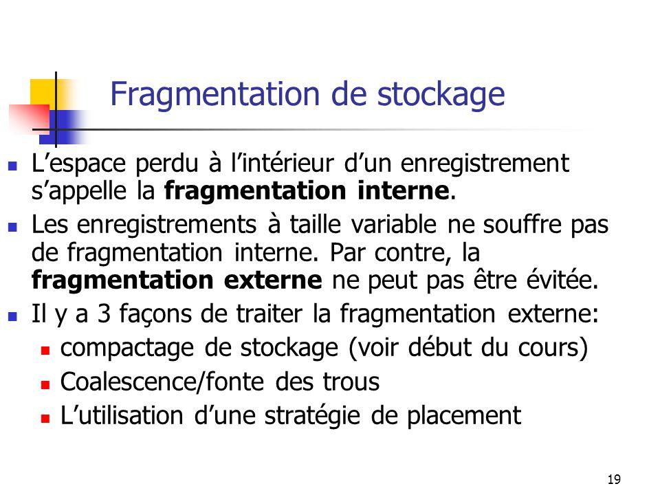 Fragmentation de stockage