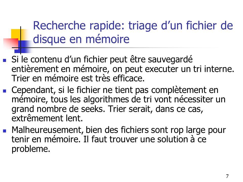Recherche rapide: triage d'un fichier de disque en mémoire