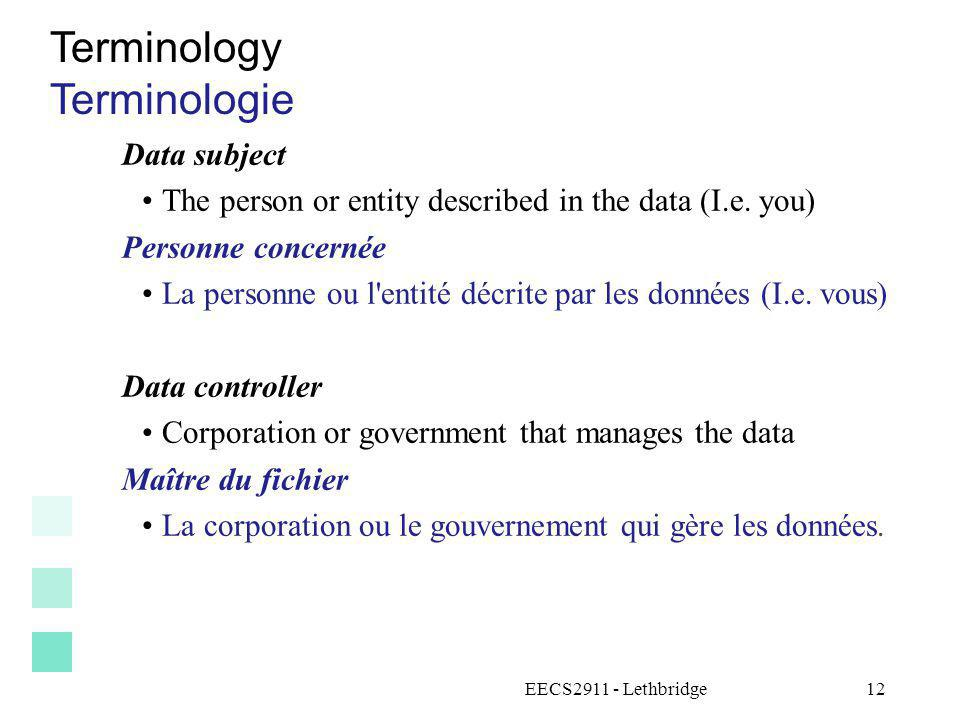 Terminology Terminologie