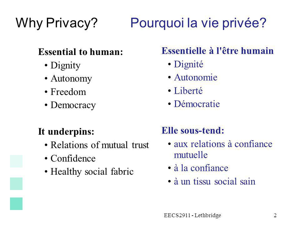 Why Privacy Pourquoi la vie privée