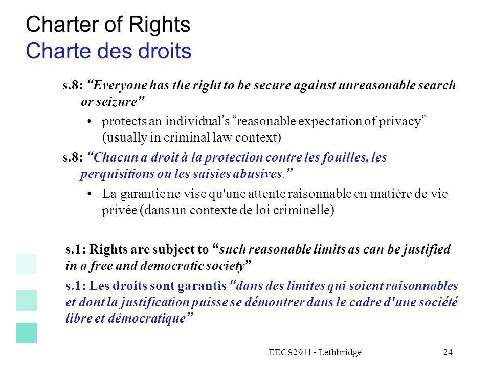 Charter of Rights Charte des droits