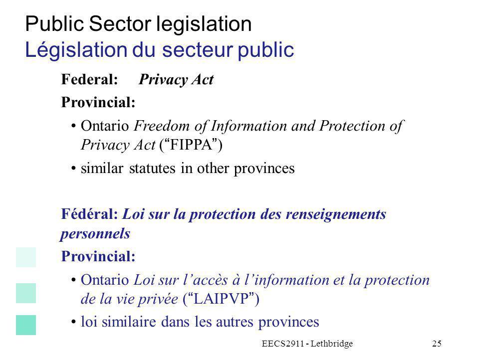 Public Sector legislation Législation du secteur public