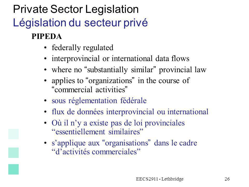 Private Sector Legislation Législation du secteur privé